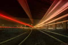 Trainspotting (again) (Stevacek) Tags: railroad bridge speed train nikon czech rail railway most lighttrails jicin d300 sigma1020mm vlak zeleznice rychlost lplights