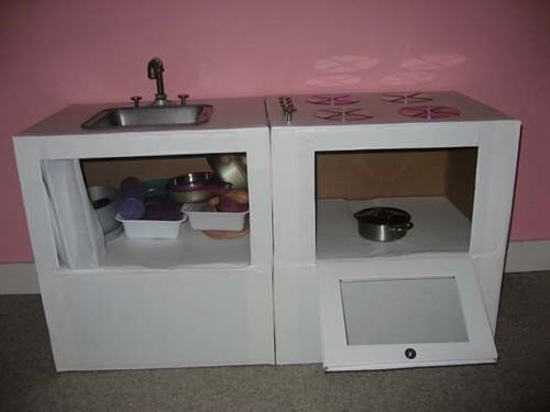 Детская кухня для девочек из коробок своими руками
