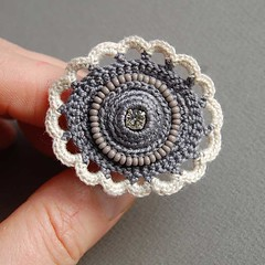 Grey crochet ring (ELINtm) Tags: grey beads crochet jewelry ring textile accessories freeform fiberjewellery