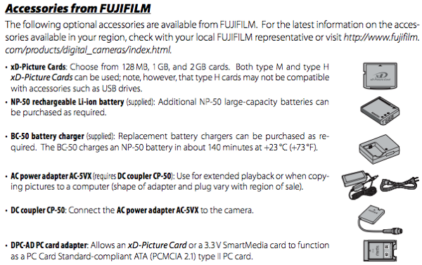 AC-5VX AC power adapter and CP-50 DC coupler accessories, as described on page 91 of the Fuji F200 manual