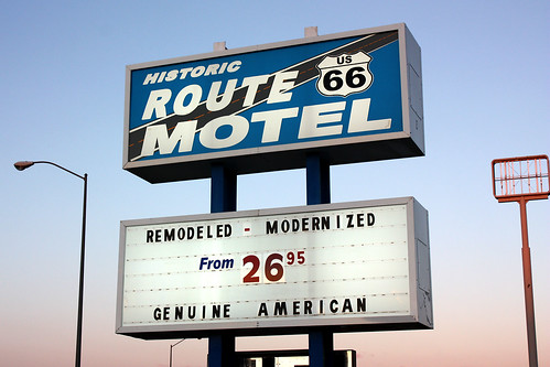 Route 66 motel sign, American Owned