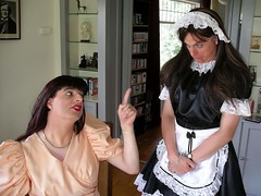 Reprimand (Paula Satijn) Tags: pink shiny dress tgirl transvestite gown satin maid reprimand