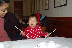 Aki drumming with chopsticks at dim sum