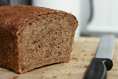 No Knead Whole Wheat Bread from a Tin