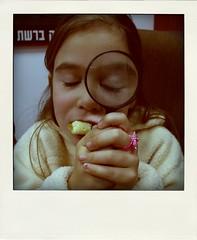 Surrealistic moments #2 (Miro42) Tags: fun israel magnifyingglass sherlockholmes miro surrealistic omelet shir fakepolaroid poladroid   miro42 pinkplasticring  miroflickrphotos miro42photos copyrightmiro42allrightsreserved