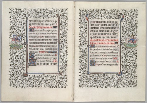 Text, 1- and 2-line decorated initials, and marginal miniatures of St. George killing the dragon and St. Martin cutting his cloak (HM 1100)