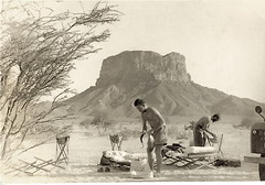 In the desert - my father at camp 58 years ago... (CharlesFred) Tags: blackandwhite bw history vintage fifties desert arab 1950s arabia yemen locust aden vintagephotos hadramaut hadramout hadramuth locustservice