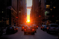Manhattanhenge // 2009 (ManicMaurice) Tags: nyc newyorkcity sunset summer ny newyork published manhattan solstice handheld gothamist 2009 hdr curbed manhattanhenge neildegrassetyson july12 photomatix explored