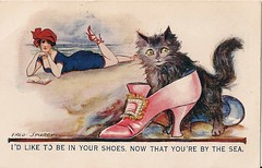 1910s postcard (seaside sally 2009) Tags: 1920s hat cat shoe bathingbelle postcardvintage 1910sshoe 1920sbeach seasideseasidevintage cat1910s