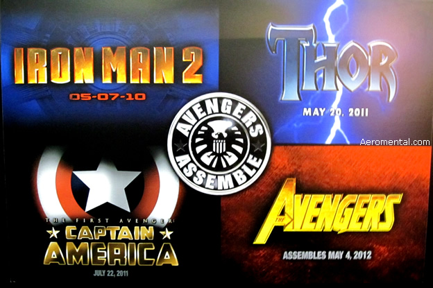 Logos de Iron Man 2, Thor, Capitán América y Avengers