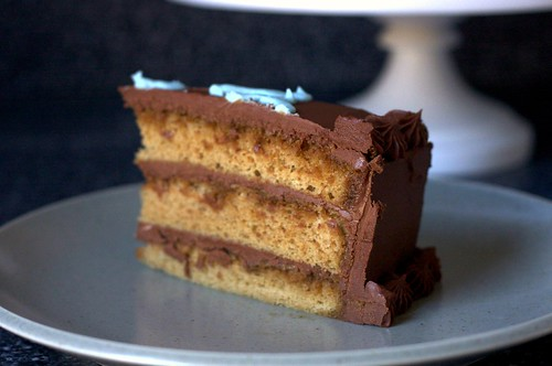 espresso layer cake, fudge frosting