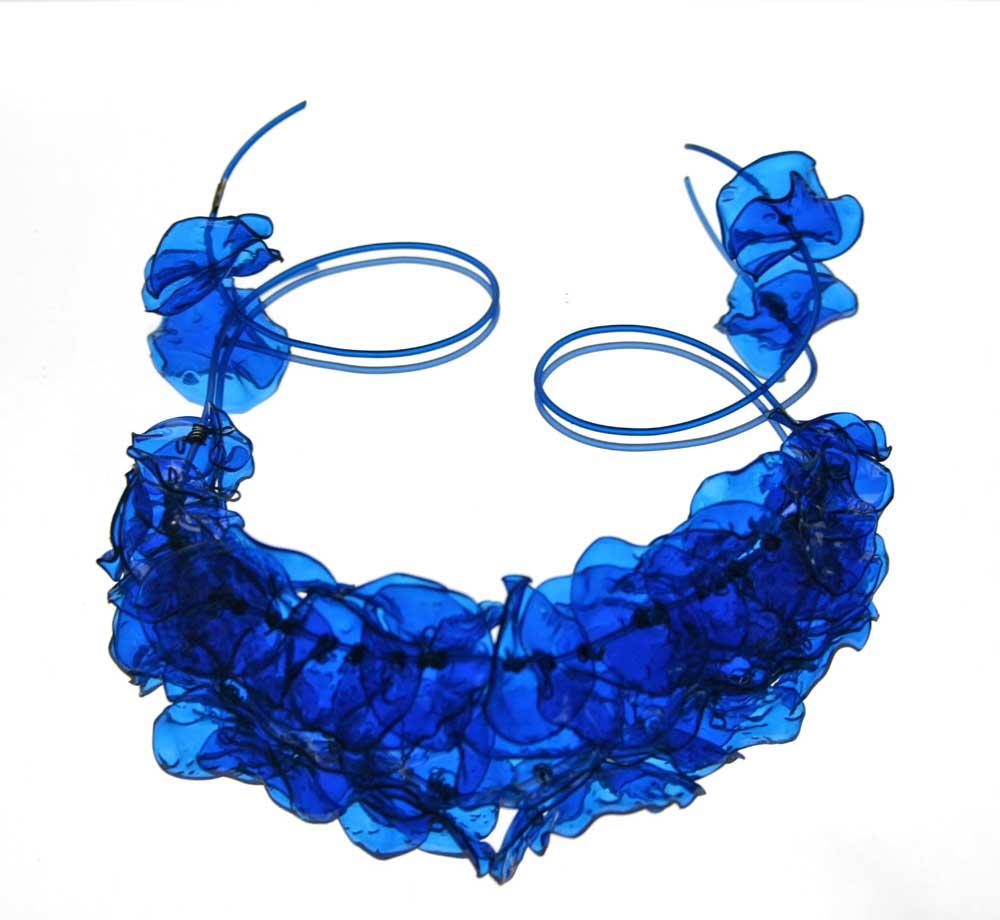cobalt blue peony necklace