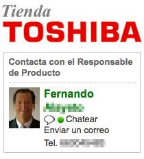 Chat de la tienda de Toshiba