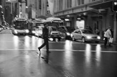 George St, Sydney (Geoff A Roberts) Tags: street leica bw white man motion black blur film st photography 50mm george nikon with kodak bokeh scanner geoff candid trix sydney streetphotography australia rangefinder super f1 f10 x m 150 saxaphone 400 mp noctilux roberts 5000 tri agfa rodinal sax coolscan streetphotographer leitz 5000ed geoffroberts