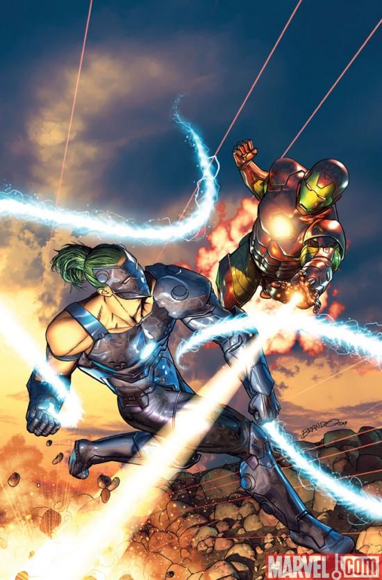 comic Iron Man VS Whiplash