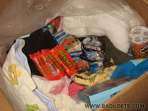 chocolates and canned goods