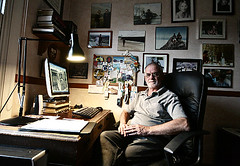 In the study (Peter Denton) Tags: portrait selfportrait me ego myself beard glasses office moi study writer editor journalist i fourthestate photosonwall canoneos400d peterdenton writersden almostastilllife