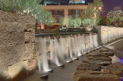 Waterfall, at the Citygarden, in Saint Louis, Missouri, USA