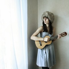 i'll believe in anything (Laura Gommans) Tags: blue portrait music selfportrait window girl hat fur dress guitar dresses curtains guitalele lauragommans