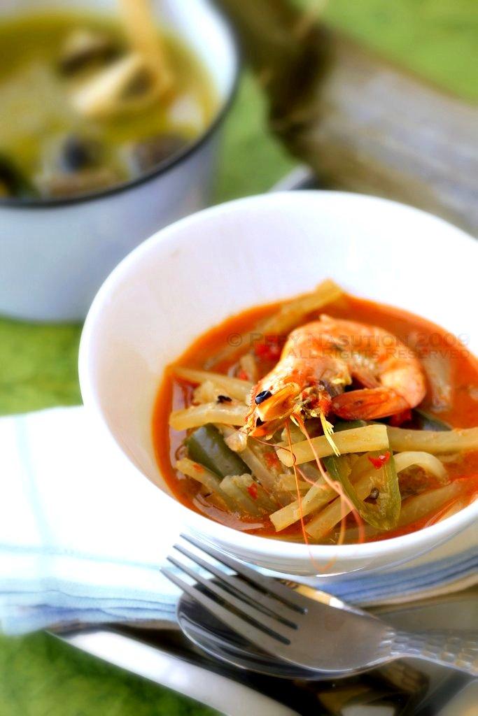 Lontong Sayur Pepaya Muda - Green Pepaya and Shrimp in Spiced Coconut Milk with Rice Cake