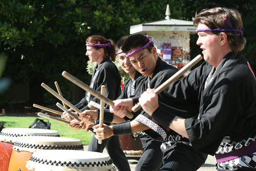 The San Francisco Taiko Dojo group performed a portion of their drum set at the Harney Nooner Heritage Festival on Friday.  Photo by Melissa Stihl/Foghorn