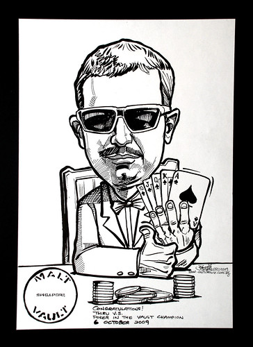 Caricature for Malt Vault Singapore - Poker Champion