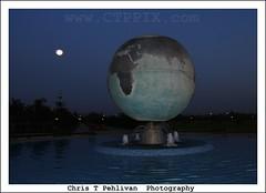 UFO visiting Earth (CTPPIX.com) Tags: travel sunset vacation sky reflection fountain canon turkey eos globe artwork earth space urlaub turkiye ufo aliens 7d spaceship ctp flyingsaucer adana 2009 turchia turkei canonefs1755mmf28isusm christpehlivan ctppix ucandaire uzaylilar