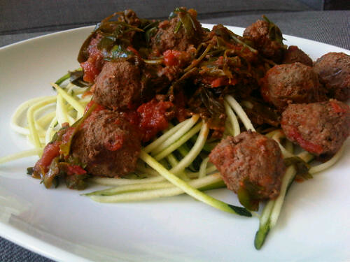 Meatballs in celery tomato sauce and zucchini noodles