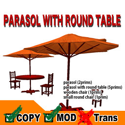 .: NADESICO :. Parasol with Round Table - orange