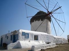 Senor Quixote is out on an errand (Sanctu) Tags: city summer vacation holiday windmill wheel island islands town europe break power wind centre greece thatch venetian spindle cyclades mykonos agean