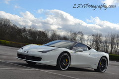 Ferrari 458 Italia (L.A's Photography) Tags: uk white car sport fast sporty vision:mountain=0911 vision:outdoor=099 vision:clouds=092 vision:ocean=0757 vision:sky=0849 vision:c