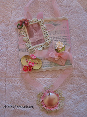 Sweet Valentine-Mixed Media Collage (kristen7744) Tags: pink flowers brown bird boys collage vintage mixed media aqua sweet crochet cottage valentine swap button shabby