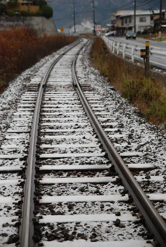 天橋立駅そばの線路