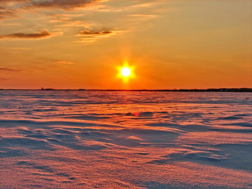 Coucher de soleil hivernal
