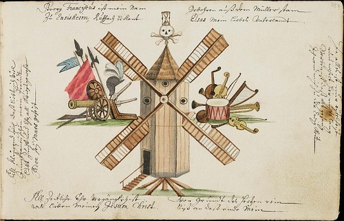 windmill, military & musical instrument coat of arms