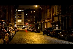 A cold night in NYC... (Jae's pics~) Tags: street nyc newyorkcity homes windows newyork building cars night trafficlight streetlight apartments streetlamp cobblestone redlight borders canonef35mmf20 canoneos50d explore~