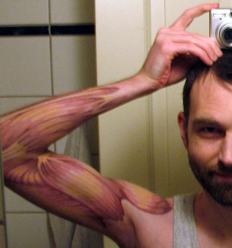 Anatomical arm muscle tattoo by street anatomy