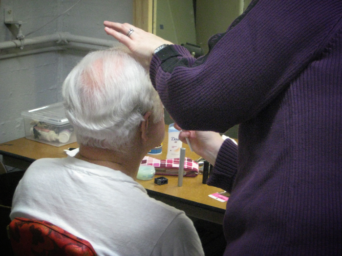 """jerry"" gets his makeup on"