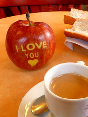 pomme d'amour... (Biscarotte) Tags: red orange love apple coffee caf breakfast bar table rouge 100v heart toast coeur butter amour iloveyou nophotoshop valentinesday pomme tartine  beurre saintvalentin bistrot jetaime 5f petitdj february14th 14fvrier
