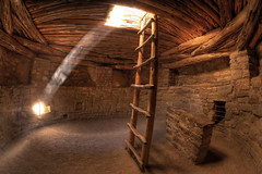 Pueblo Indian Kiva (Stephen Oachs (ApertureAcademy.com)) Tags: beautiful underground smithsonian ancient colorado indian beam mesaverde ladder cortez anasazi kiva lightbeam smithsonianmagazine stephenoachs stephenoachscom worldviewexhibit tyndallbeam truthandillusion