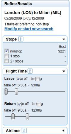 Fly.com refine search