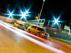 Car trail (musicaymas [Javier Chaurn]) Tags: longexposure light luz car cola trail carro cancha largaexposicin lechera fotosensor