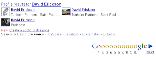 Google Profile - Profile Results For David Erickson - 04/23/09