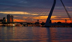 Kop van Zuid - Rotterdam 05:22 (JustJan) Tags: longexposure bridge canada water clouds river rotterdam nightshot bluehour brug erasmusbrug worldportcenter blueribbonwinner
