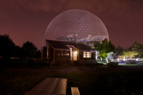 The Solar House and the Biosphere at night