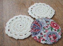 Crochet and fabric coasters