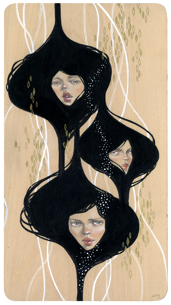"Let Go. 6""x11"". Mixed Media (Graphite, Acrylic, Metallic Pen & Watercolor on Wood). ©2009."