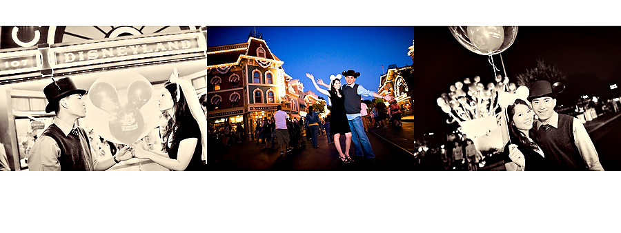 vintage night time disneyland ballon engagement photograph pg15