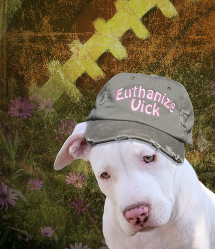 Kahuna Luna wearing an anti Michael Vick baseball cap, speaking for all the Pitbulls and Dogs of America! Euthanize Vick, boycott Philadelphia Eagles NFL football team and sponsors by Beverly & Pack