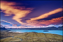 tekapo sunset (Daniel Murray (southnz)) Tags: road sunset newzealand sky cloud lake snow alps john landscape scenery mt hill mount observatory nz southisland tussock tekapo norwester southnz